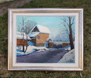 Umjetnicka slika, zima, vodenica, mlin