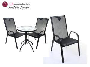 Stolica - metal - tekstil 92 cm sivo-crna MEDITERRANNA