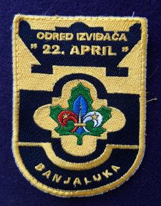 """Amblem """"Odred izviđača 22.april"""" Banjaluka"""