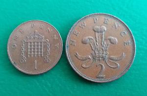 Velika Britanija-Engleska - 1 i 2 pence