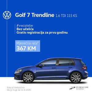 VW GOLF 7 1.6 TDI Trendline Operativni Leasing 367KM