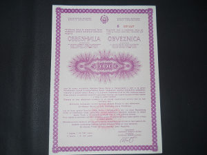 50000 dinara obveznica SRBiH SFRJ 1987 god