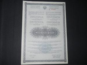 1000000 dinara obveznica SFRJ 1986 god