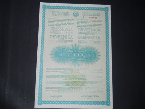 50000 dinara obveznica SFRJ 1988 god