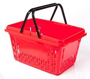 Trgovačka korpa sa dvije ručke PVC, 20l, crvena
