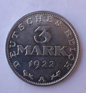 3 Mark A Deutsches Reich UNC 1922