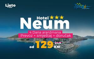 Ljeto Neum 4 dana prevoz smještaj Hotel od 129KM