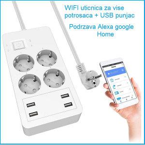 Pametna uticnica 4x + 4x USB Wi-Fi Smart uticnica