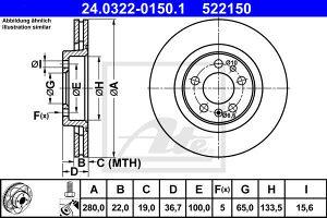 PREDNJI DISKOVI GOLF 4. ATE . PROMJER 280mm