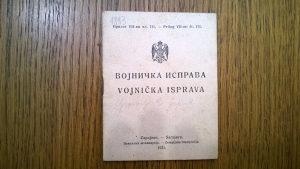 Vojnička isprava Kraljevina 1921g