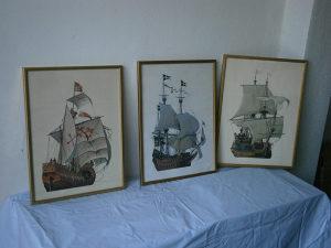Umjetničke slike, 3 komada, Björn Landström, brod