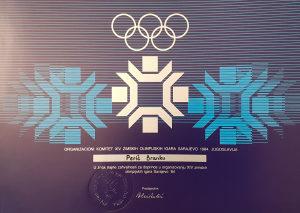 Zahvalnica Zimska Olimpijada Sarajevo ZOI 84