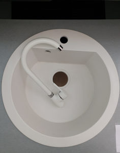 LAVEO SET granitni sudoper bijeli fi 51 i česma + sifon