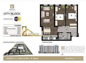 Trosoban stan 60m2, City Block