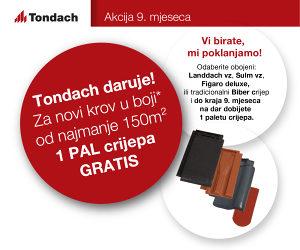 Tondach AKCIJA 9. mjeseca - 1 PAL crijepa GRATIS