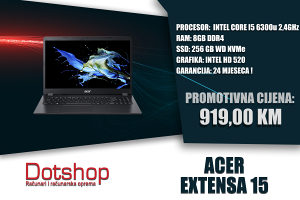 LAPTOP ACER EXTENSA 15 I5 6300u 256GB 8GB