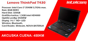 Lenovo ThinkPad T430 Core i7 3rd gen. NOVA BATERIJA
