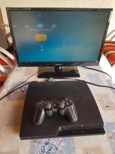 """PLAYSTATION 3 PS3 SLIM + 22"""" TV"""