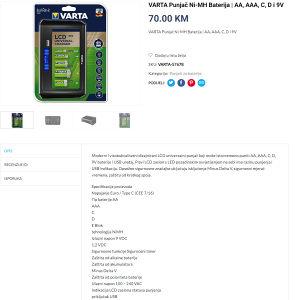 Orginalni VARTA punjač baterija AAA A AA, digitalni