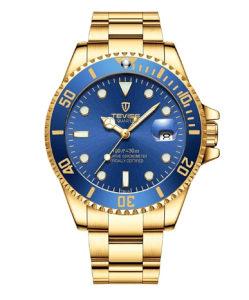 Tevise QUARTZ muški sat plavo zlatni