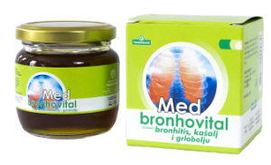 """Med """"Bronhovital"""" za bronhitis, kašalj i grlobolju 250g"""