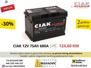 Akumulator CIAK 12V 75Ah 680A **AKCIJA**