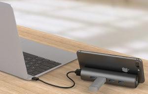 QICENT Aluminum 4 Ports USB3.0 Hub nosač mobitela