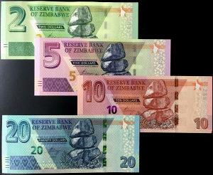 Zimbabve 2+5+10+20 dolara 2019 UNC set