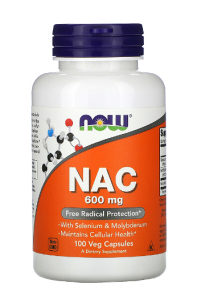 Now Foods, NAC, N-Acetyl-L-Cysteine, 600 mg, 100 kaps.