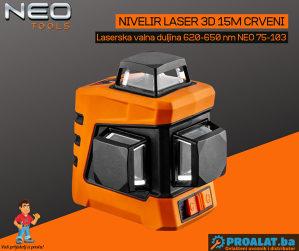 NEO Nivelir laser 3D 15 M crveni 75-103