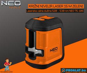 NEO Križni nivelir laser 15 m zeleni 75-106