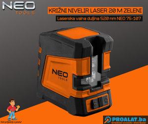 NEO Križni nivelir laser 20 m zeleni 75-107