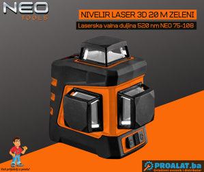 NEO Nivelir laser 3D 20 m zeleni 75-108