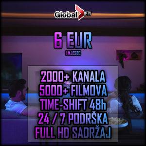 Global IPTV - 2.000 kanala - Videoteka