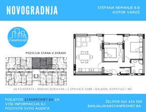 500873 Stan dvije spavaće 68m2  Kotor Varoš