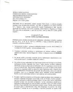 Sudska prodaja nekretnine u Bugojnu