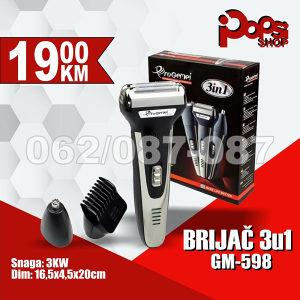 Set za brijanje i šišanje 3u1, 3W - Gemei