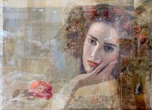 Mersad Berber, Žena sa Ružom, ulje na platnu, 40x55cm