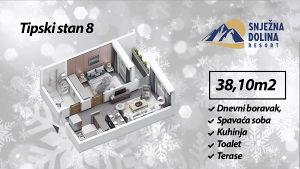 Apartman 38m2 sa jednom spavaćom i balkonom