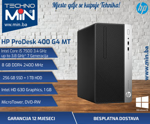 HP 400 G4, i5 7500 3.4/8/256SSD1TB/DVD-RW/MT
