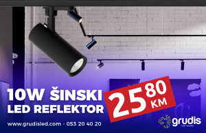 LED šinski reflektor 10W 3000K - crni