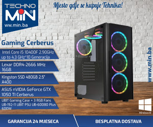 Gaming Cerberus, i5 10400F 2.9/16/480SSD/GTX1050TI