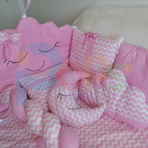 Baby ogradica za krevetić, pletenica, jastuk, jorgan