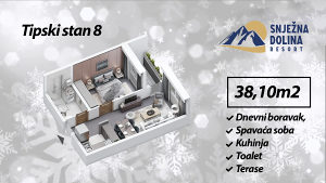 500958 Jahorina dvosoban apartman 38m2 pogled šuma