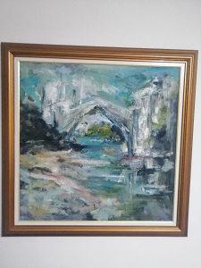 Umetnička slika. Stari most u Mostaru..