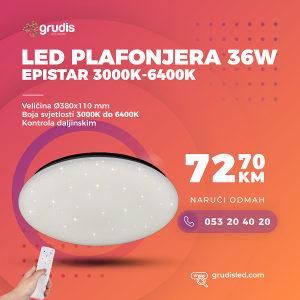 LED PLAFONJERA 36W - 3000K-6400K EPISTAR