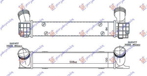 HLADNJAK INTERC. 1.6-2.0 T.DIZEL(508x100x85) BMW 3 (E92/93) COUPE/CABRIO 11-13