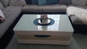 Stol za dnevni boravak visoki sjaj staklo LED