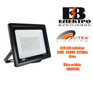 Eco LED reflektor 50W 3000K 4250lm Crni  Mitea