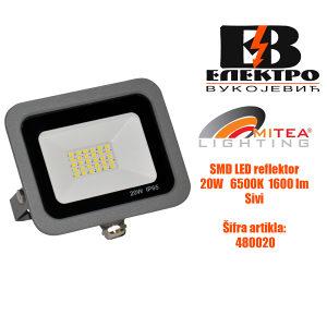 SMD LED reflektor 20W 6500K 1600lm Siva Mitea